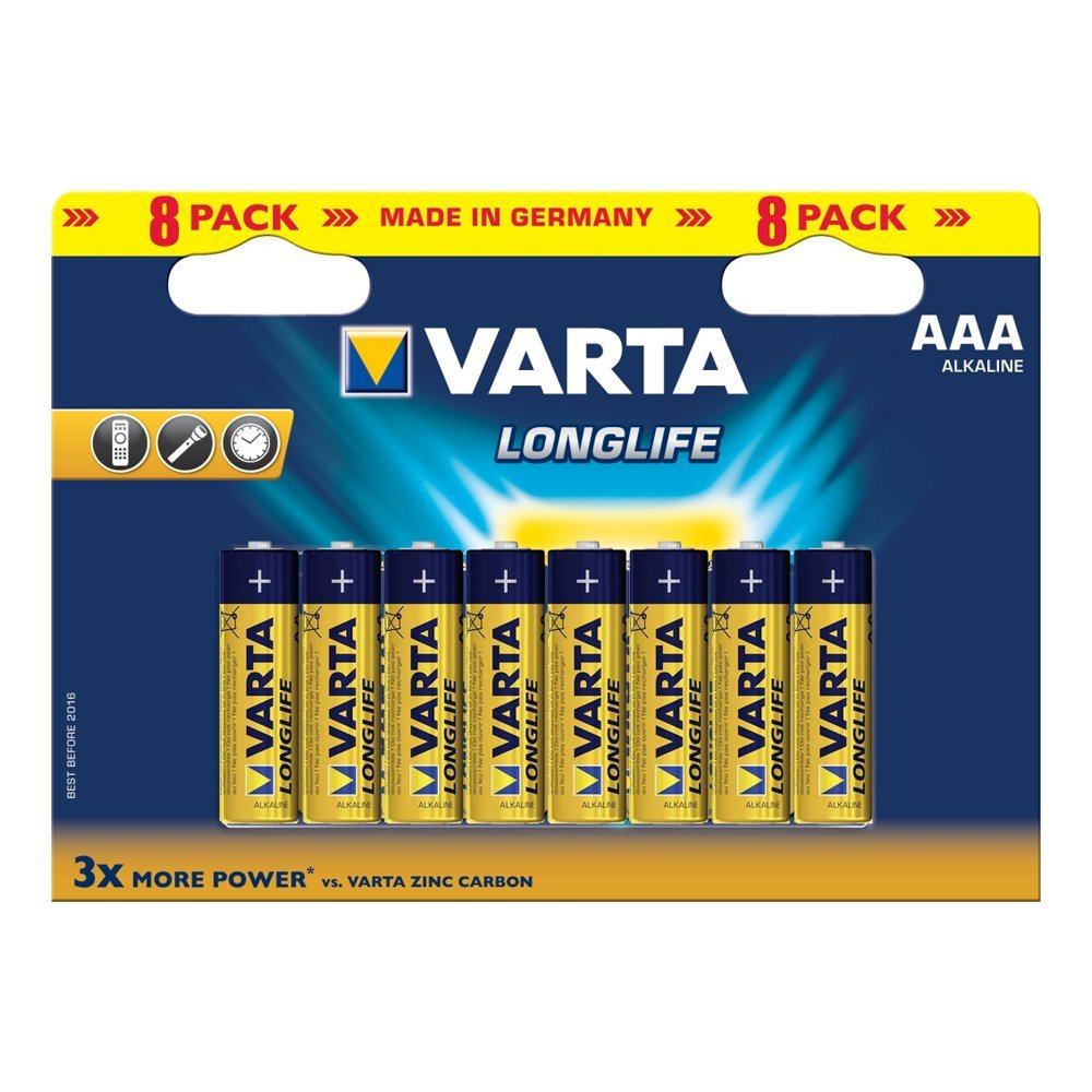 Alkaline battery 1.5V AAA 8pcs VARTA Longlife