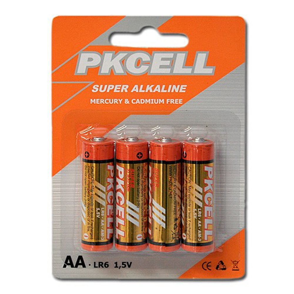 Alkaline battery 1.5V AA 4pcs PKCELL LR6