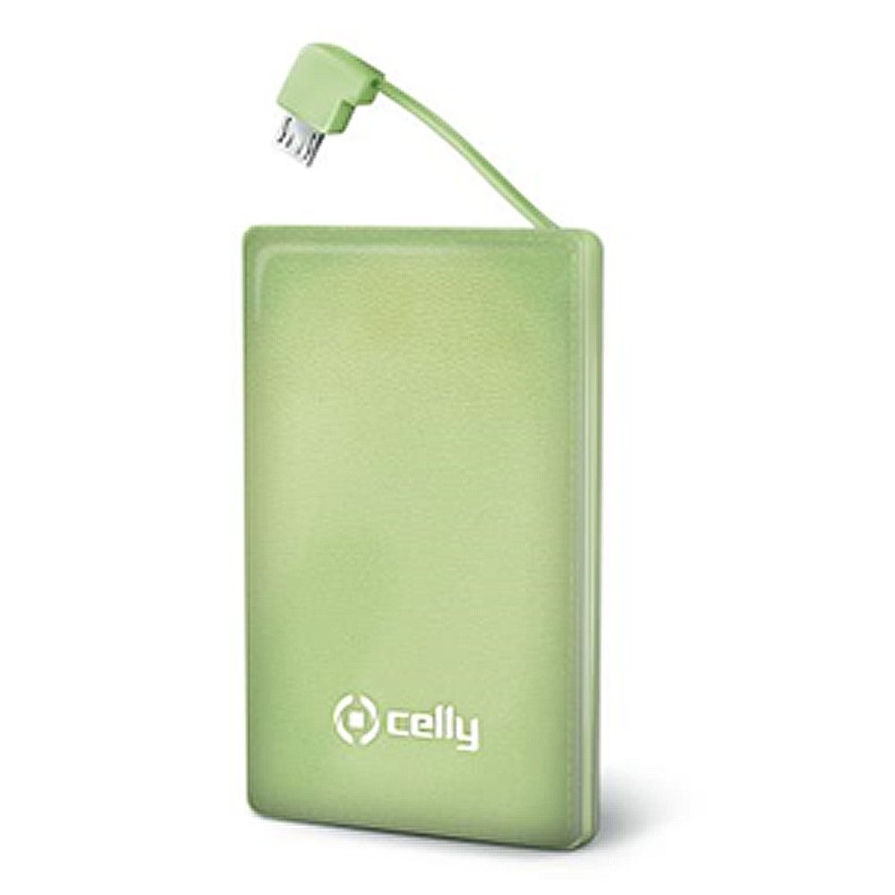 Power Bank 1500mAh CELLY w/integrated MicroUSB cable PB1500GN green