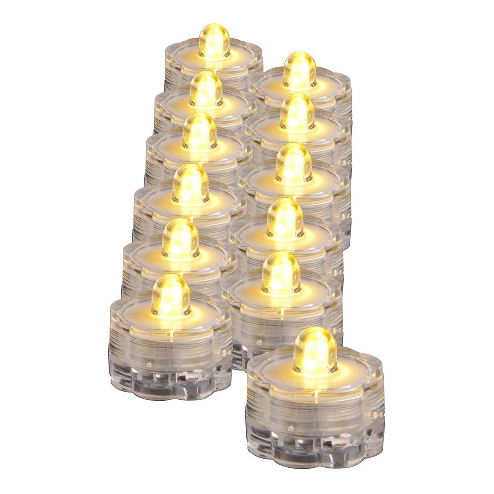 Battery Candle LED Warmwhite D3 x H2.5cm (Set of 12 pcs) 55019 clear