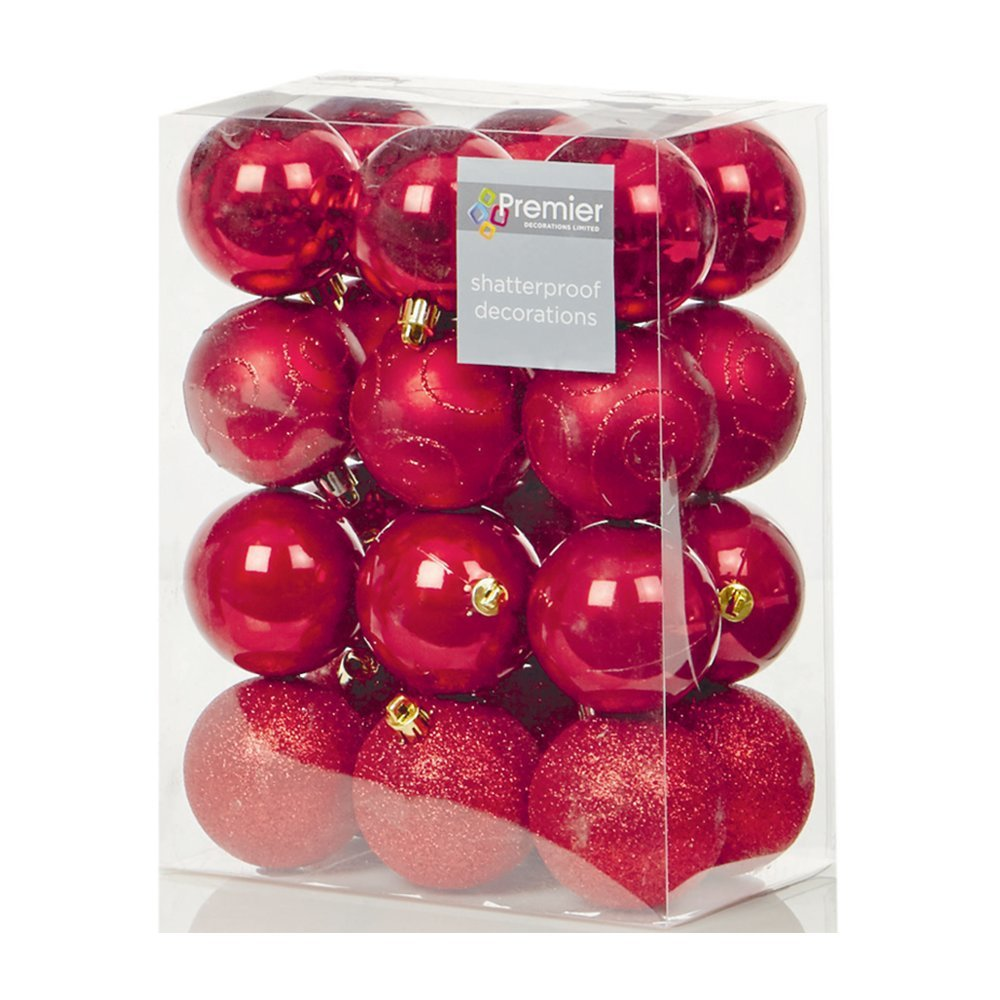 Christmas Bauble (Set of 24pcs) 60mm red TD126241R