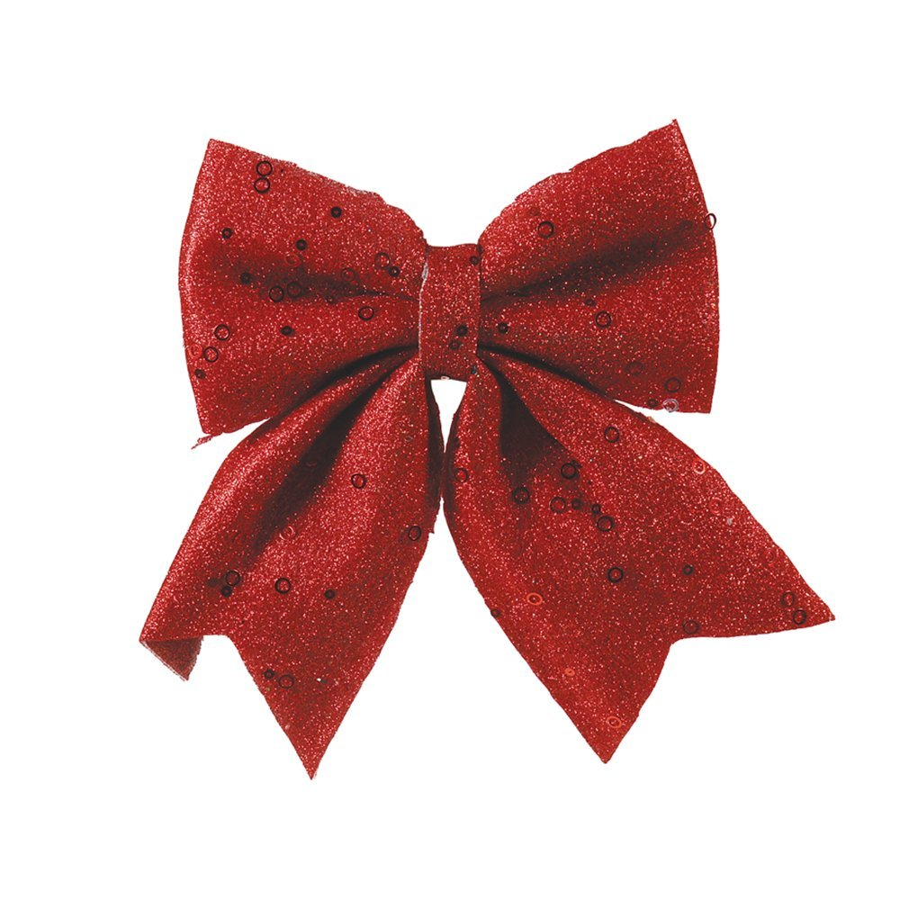 Christmas Decoration Bow 15cm red glitter 154762