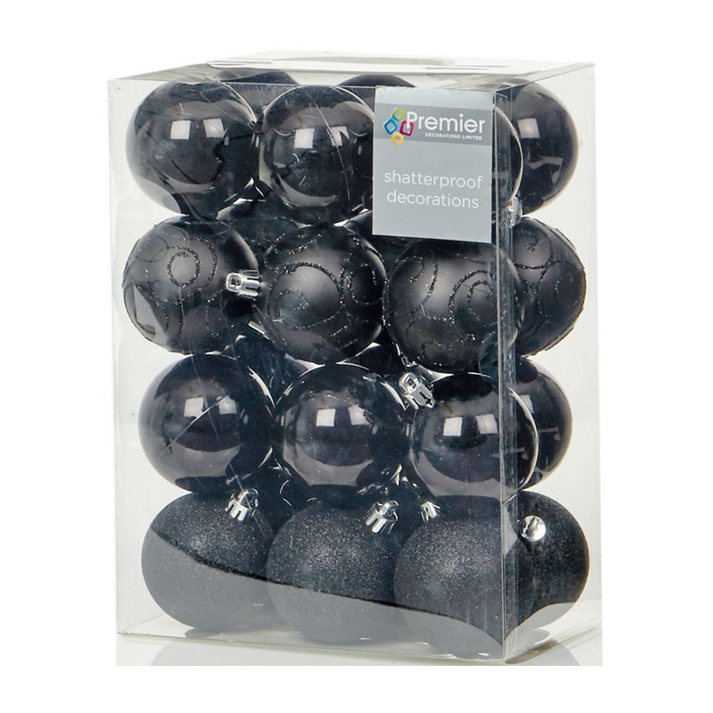 Christmas Bauble (Set of 24pcs) 60mm black  TD126241BK