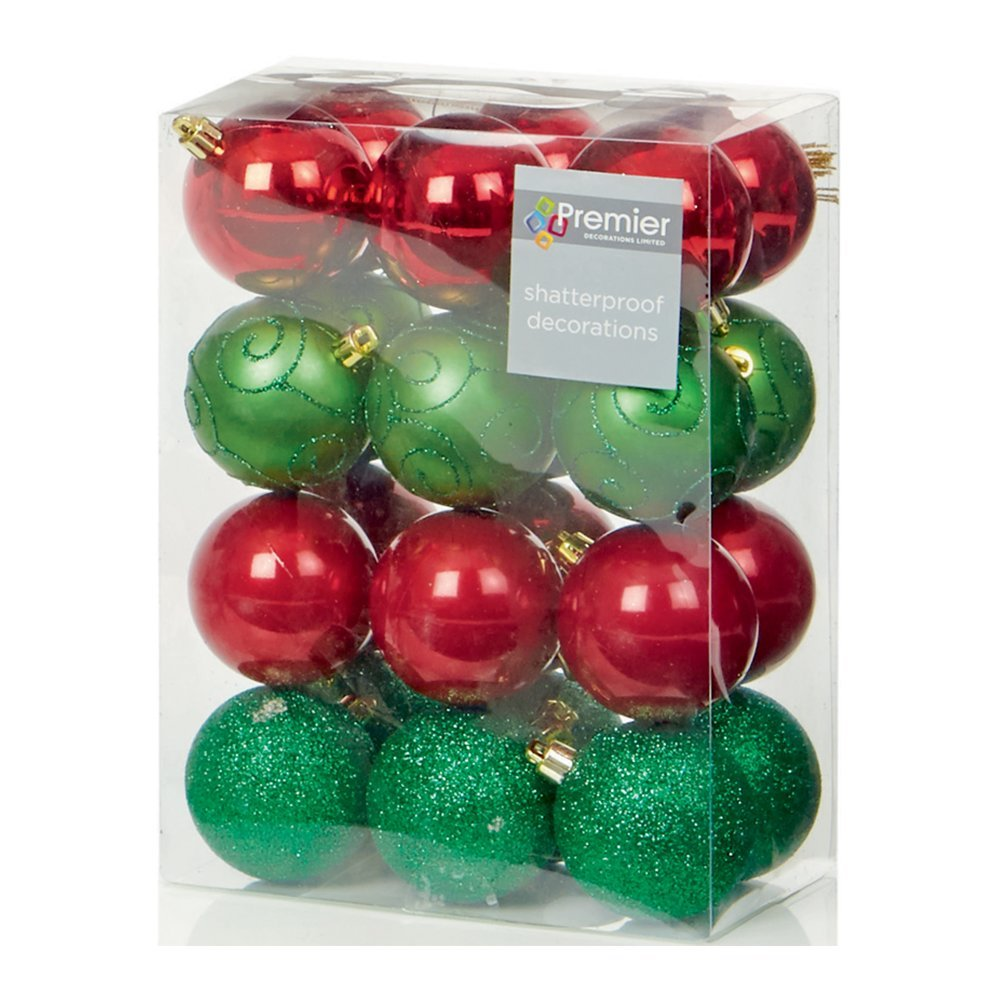 Christmas Bauble (Set of 24pcs) 60mm red/green  TD126241RGR