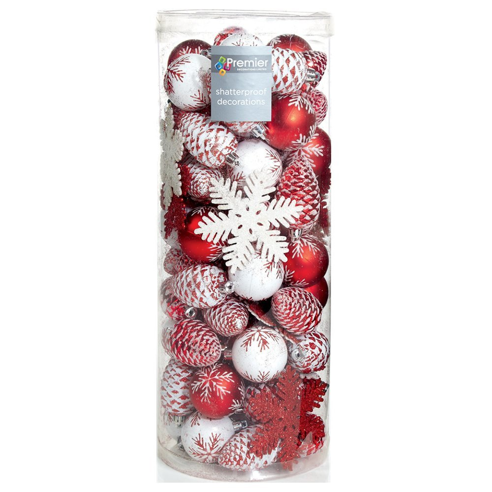 Christmas Bauble (Set of 84pcs) red/white TD165765RW