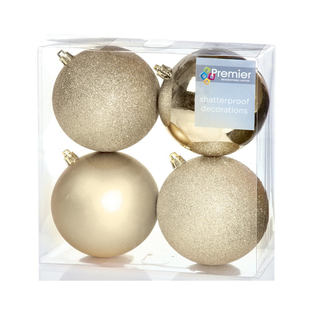 Christmas Bauble (Set of 4pcs) 100mm gold/glitters TD165280CG