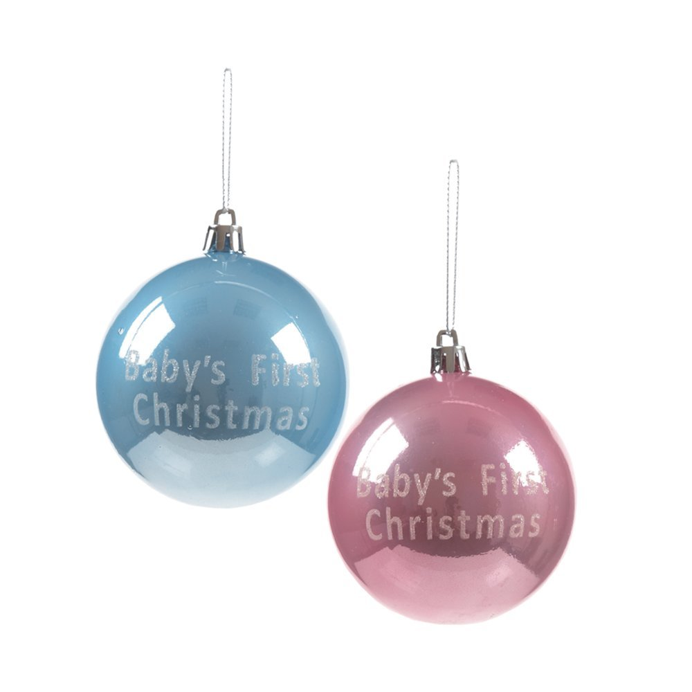 Christmas Bauble 80mm blue/pink TD165767