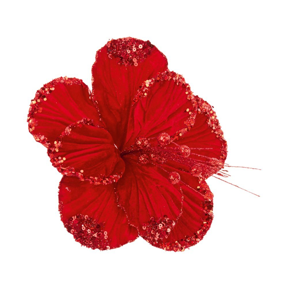 Christmas Decoration Flower 20cm red glitter DF185290R