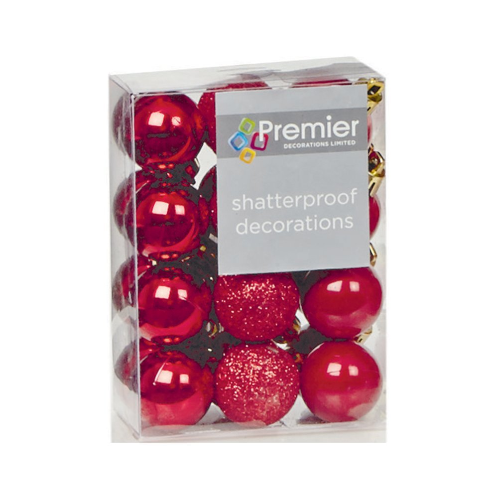 Christmas Bauble (Set of 24pcs) 30mm red TD126187R