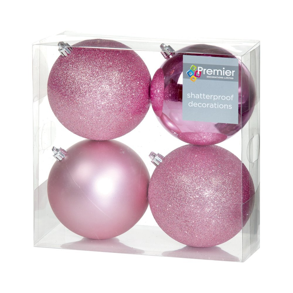 Christmas Bauble (Set of 4pcs) 100mm pink glitter TD165280DUP