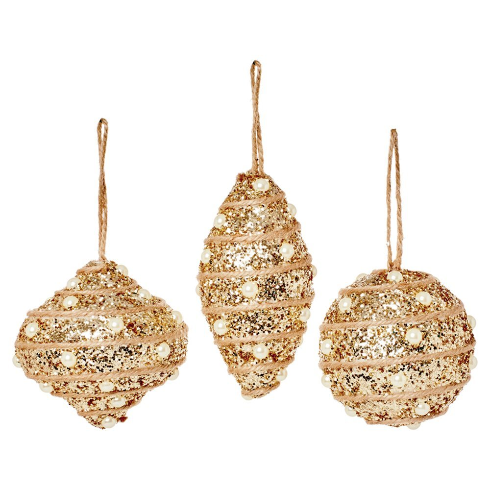 Christmas Bauble 80mm gold glitter TD165927