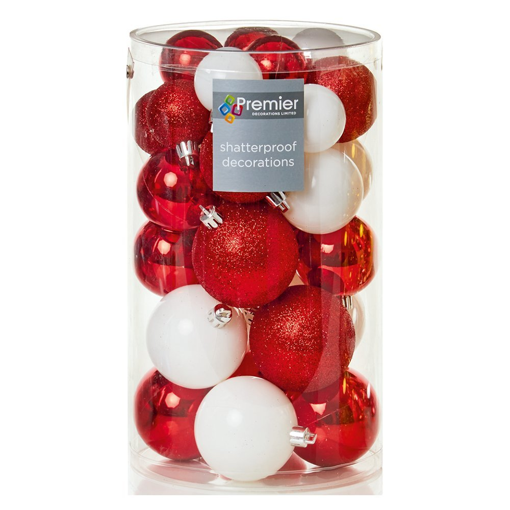 Christmas Bauble (Set of 30pcs) 40-50-60mm red/white TD185295RW