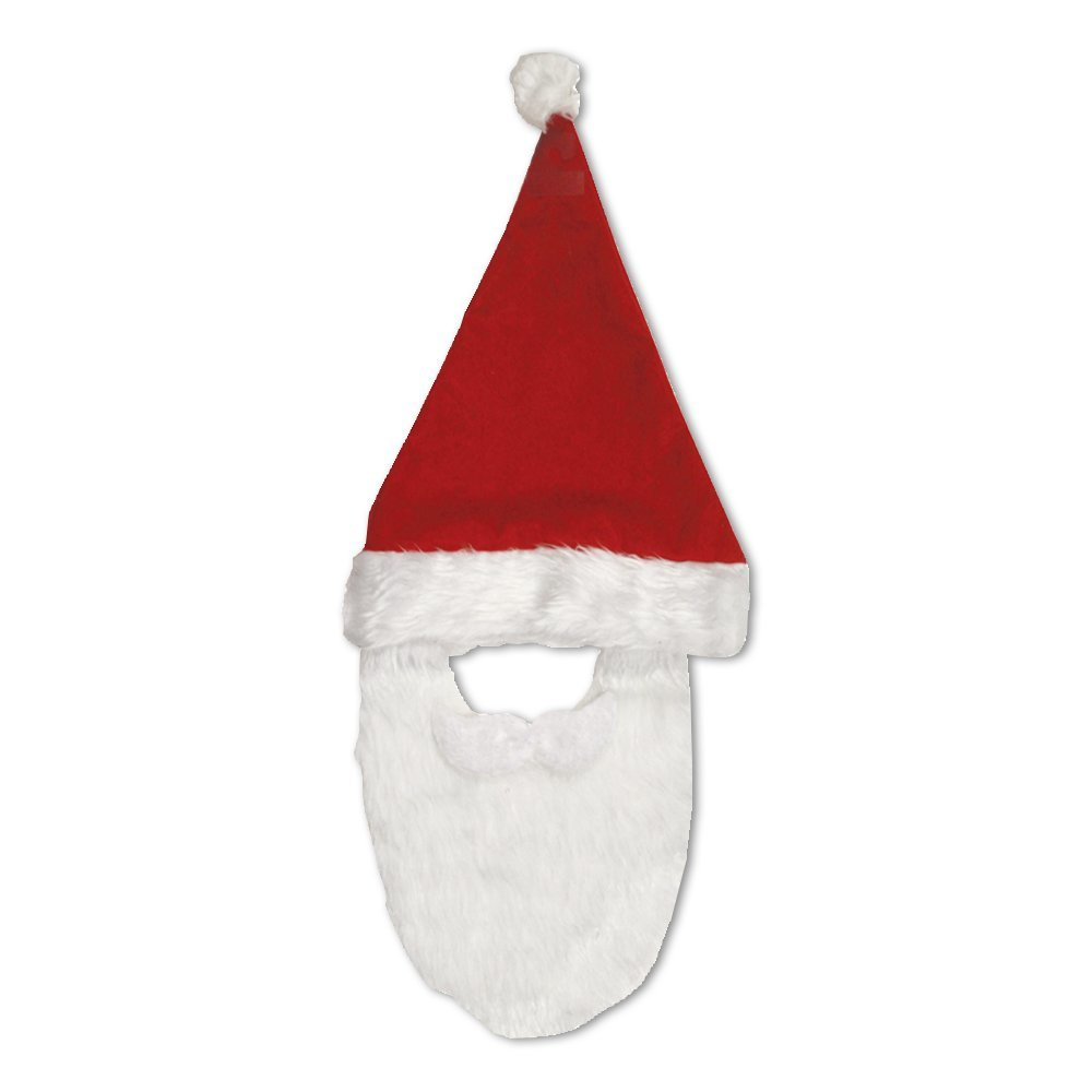 Christmas Santa Hat with Beard X-24120-HAT red/white