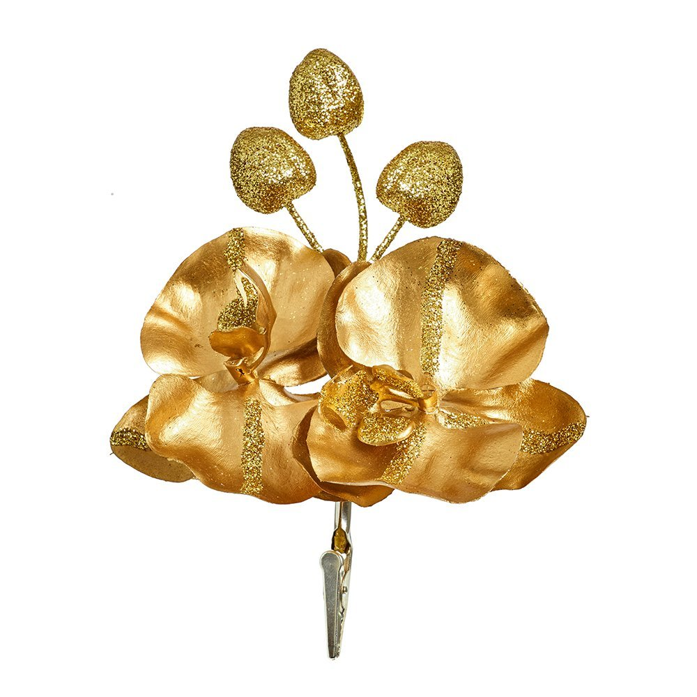 Christmas Decoration Flower 19cm DF195234G gold glitter