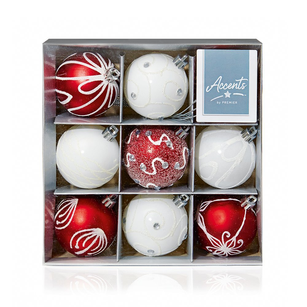 Christmas Bauble 60mm (Set of 9pcs) TD126405RW red/white