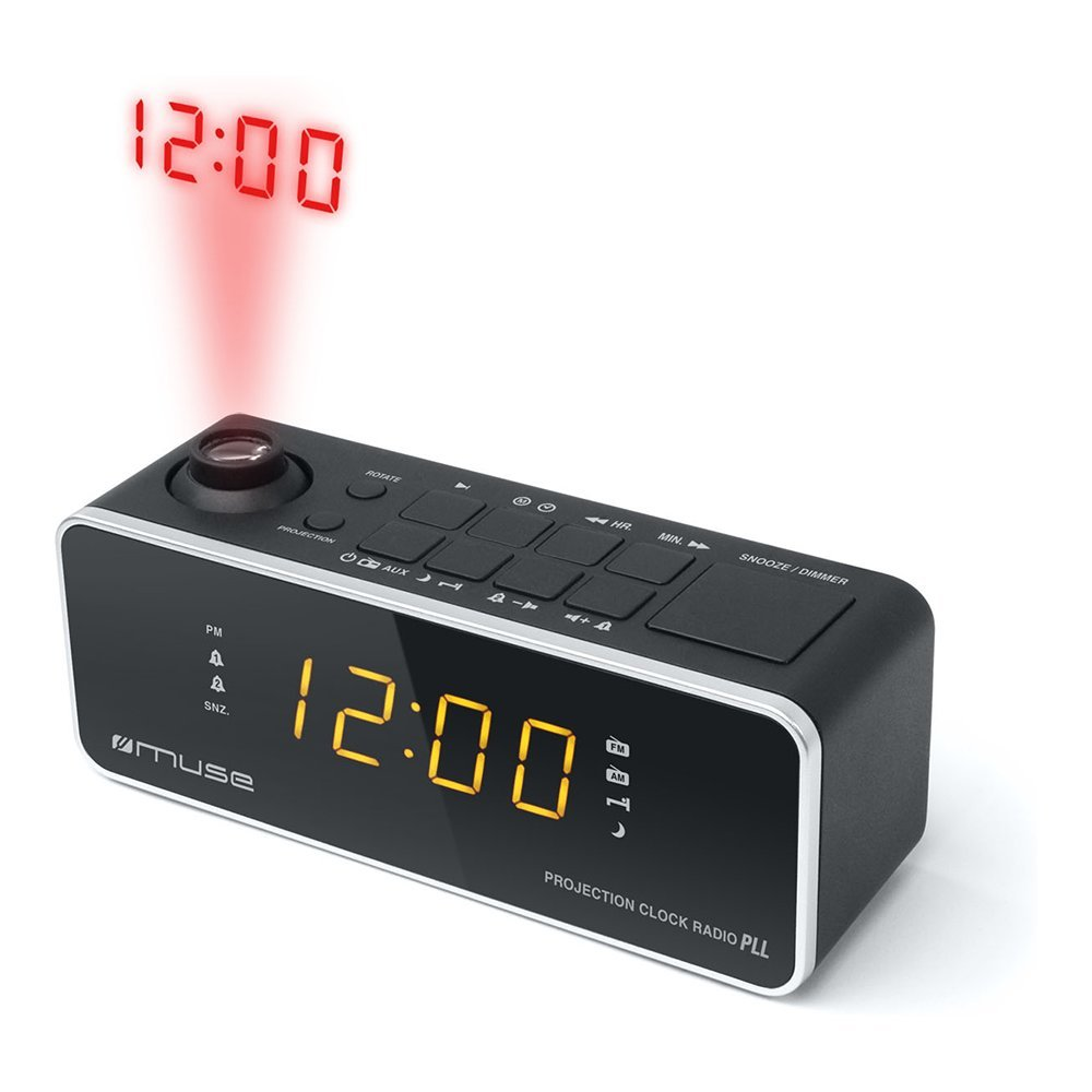 Alarm radio clock with time projection MUSE M-188P black