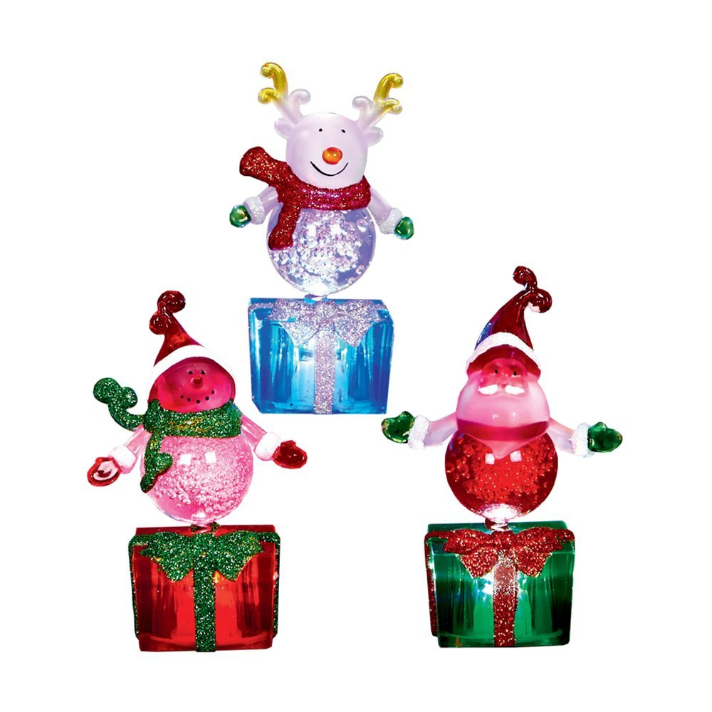 Pre-Lit Christmas Santa/Snowman/Reindeer LED 11cm RGB (red, green, blue) LB151508