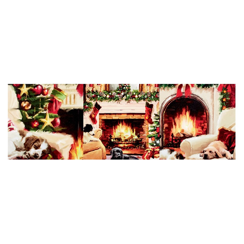 Pre-Lit Christmas Painting Dogs And Fireplace LB162191