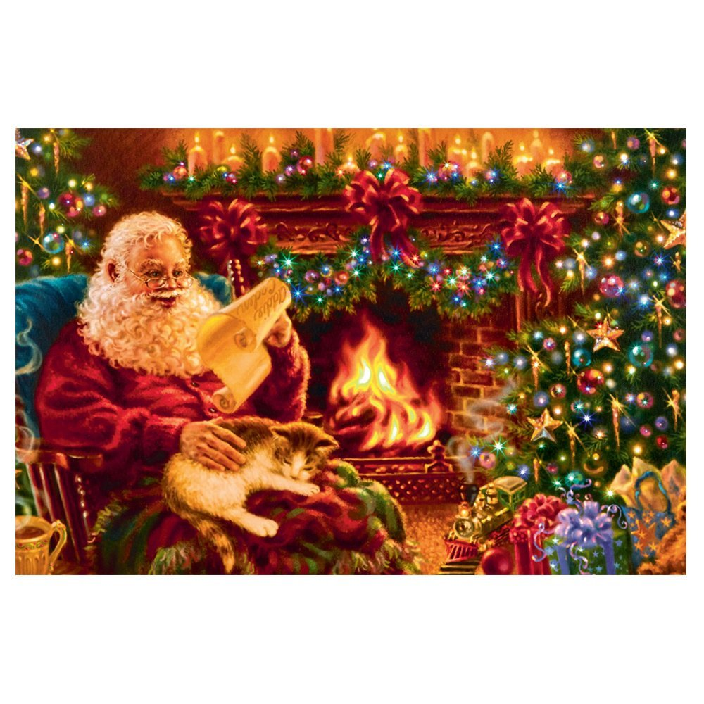 Pre-Lit Christmas Painting Santa By Fire FB161508