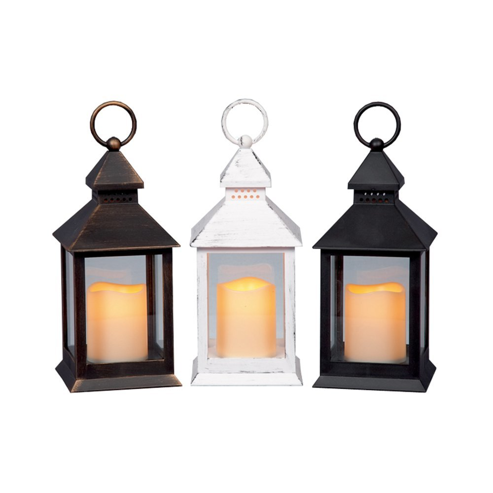 Battery Lantern with Candle LED LB161623 black