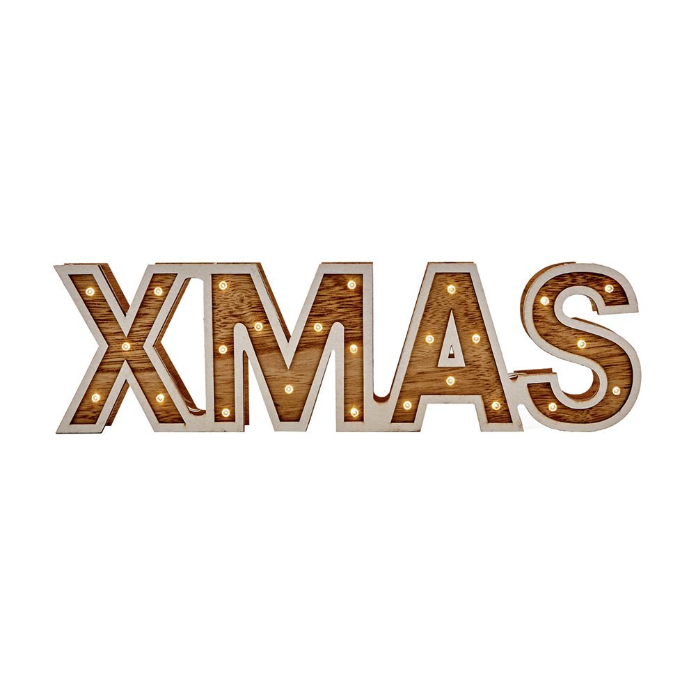 Pre-Lit Christmas Sign LED 38 x 11cm LB183277