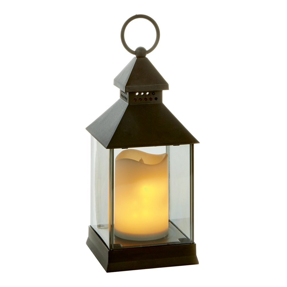 Battery Lantern with Candle LED LB184737 black