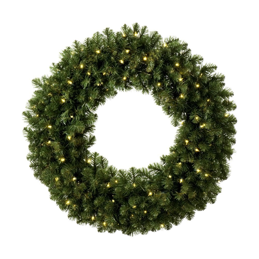 Pre-Lit Wreath Battery LED Warmwhite 90cm W3021N-50BL-8F green