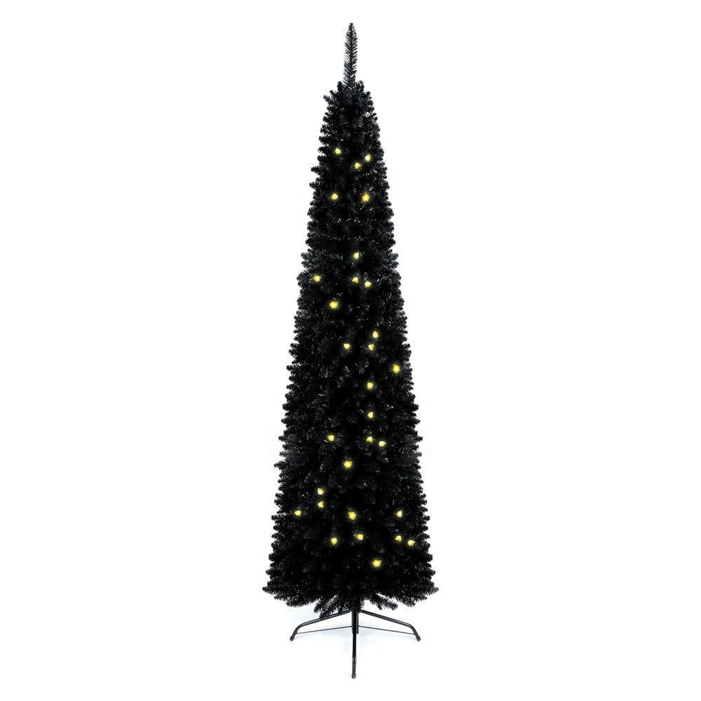 Pre-Lit Christmas Tree Plug-in LED Warmwhite Slim 210cm QJBL7046-130L-8F black