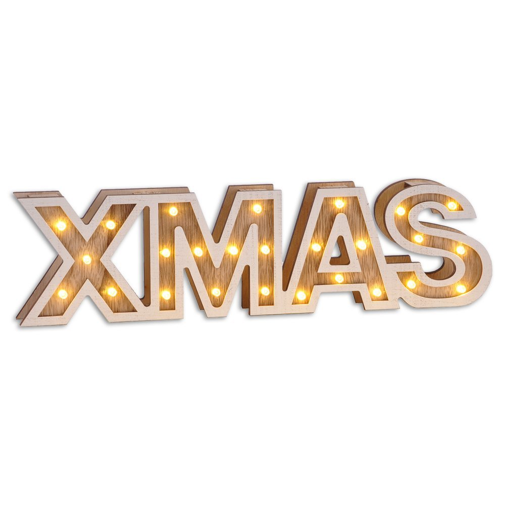 Pre-Lit XMAS sign LED Warmwhite 54942