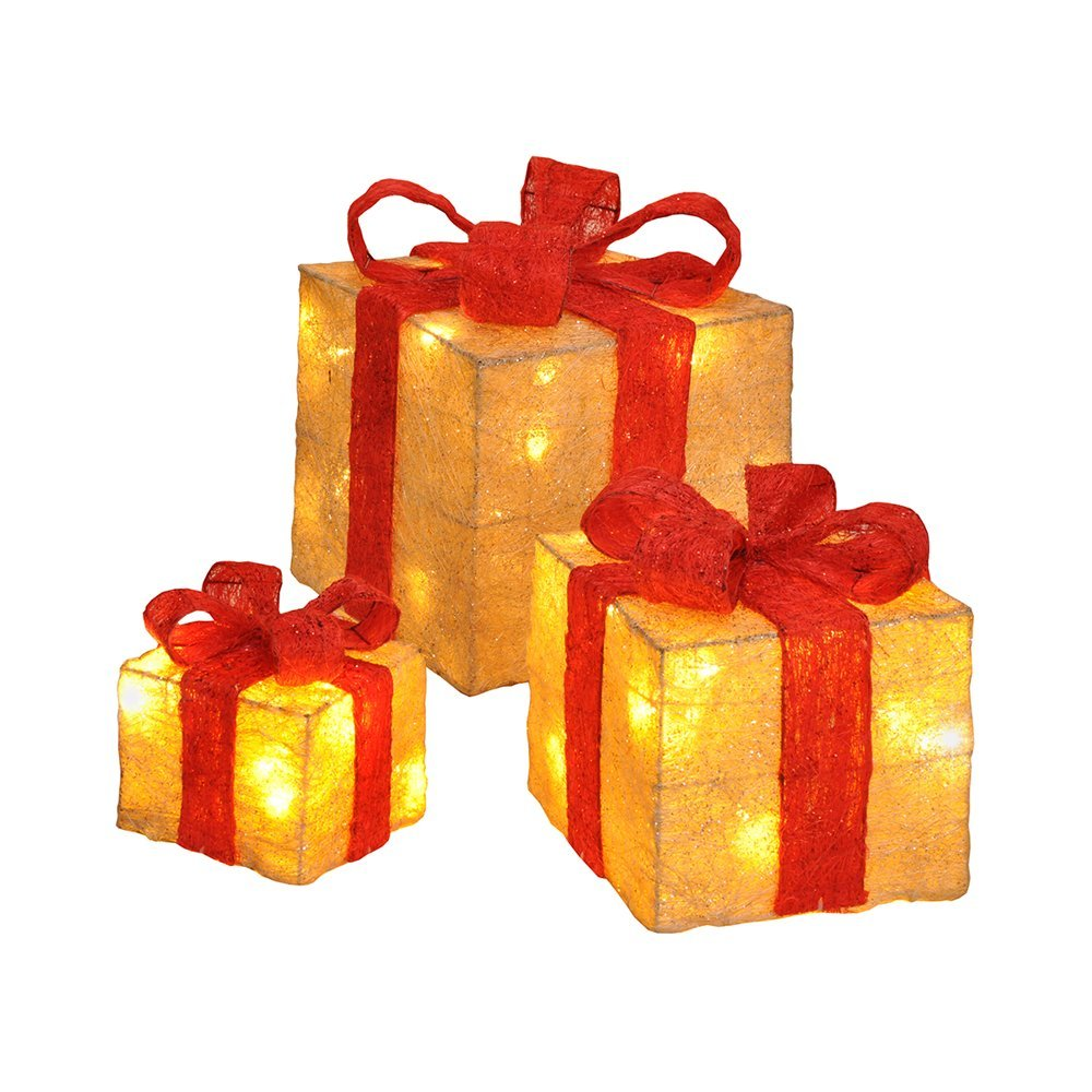 Pre-Lit Tree Gifts (Set of 3pcs) 3D LED Warmwhite 75019 red/gold