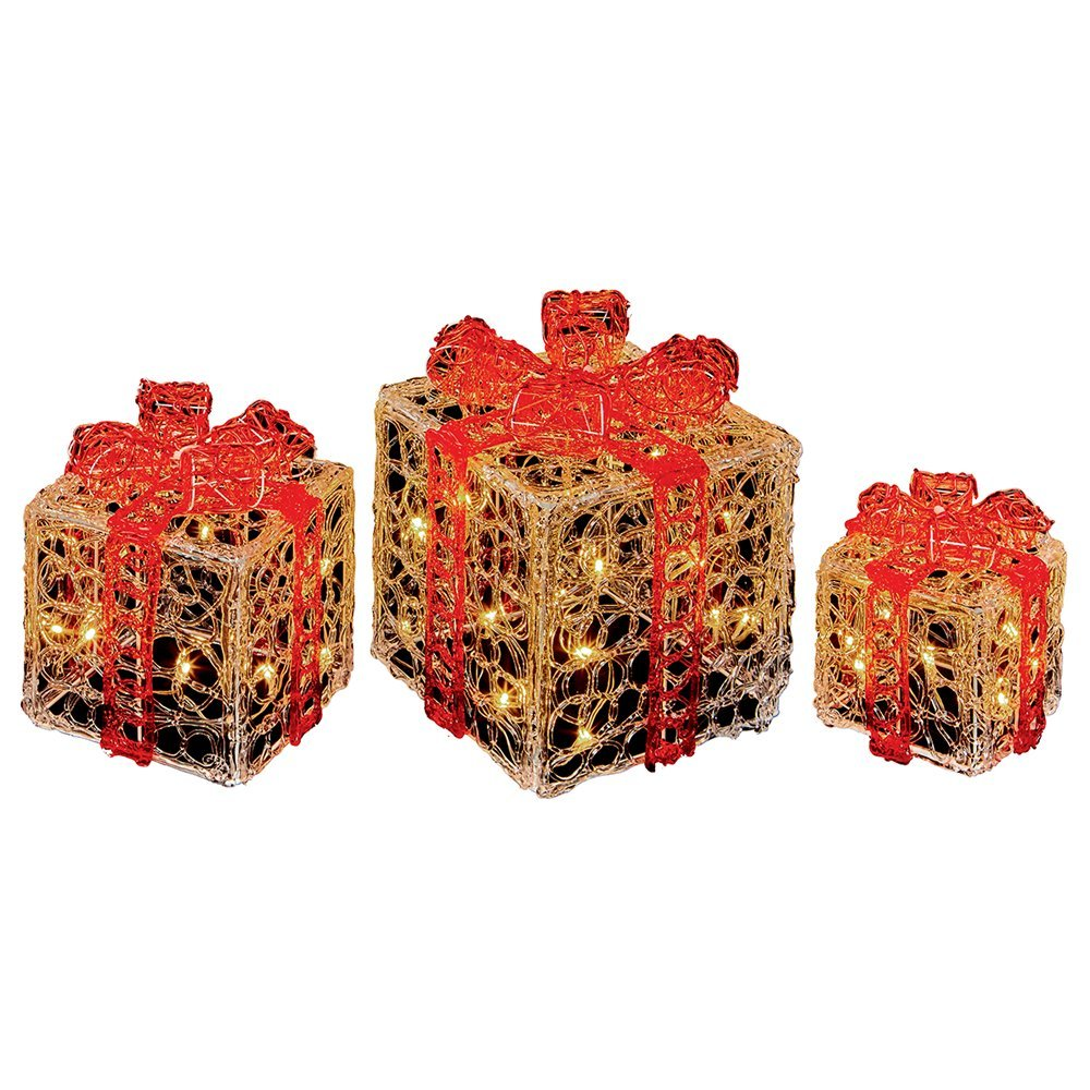 Pre-Lit Tree Gifts (Set of 3pcs) 3D LED Warmwhite LV191159 red/gold