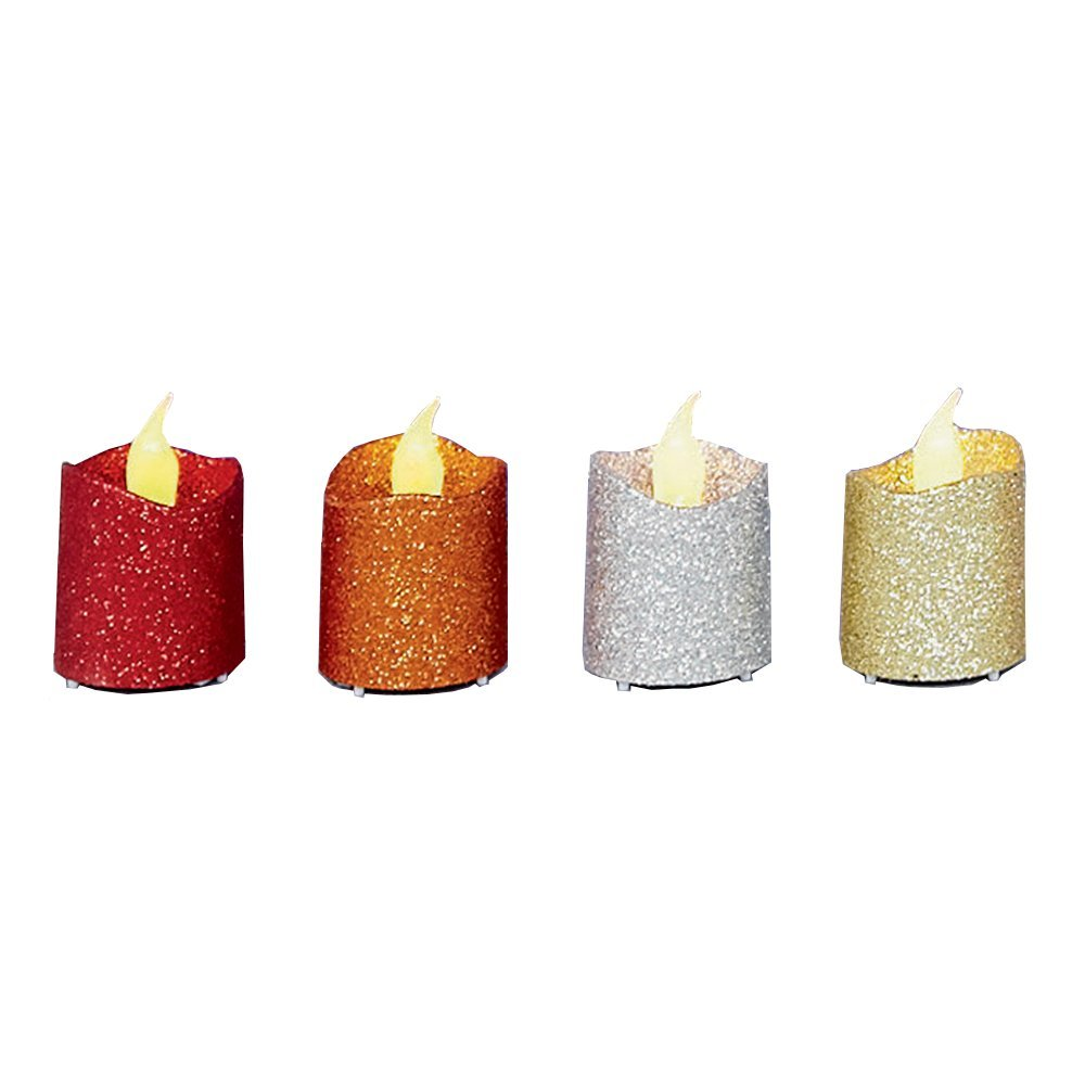 Pre-Lit Candle LED Battery (Set of 4pcs) gold/silver/red glitter LB101541
