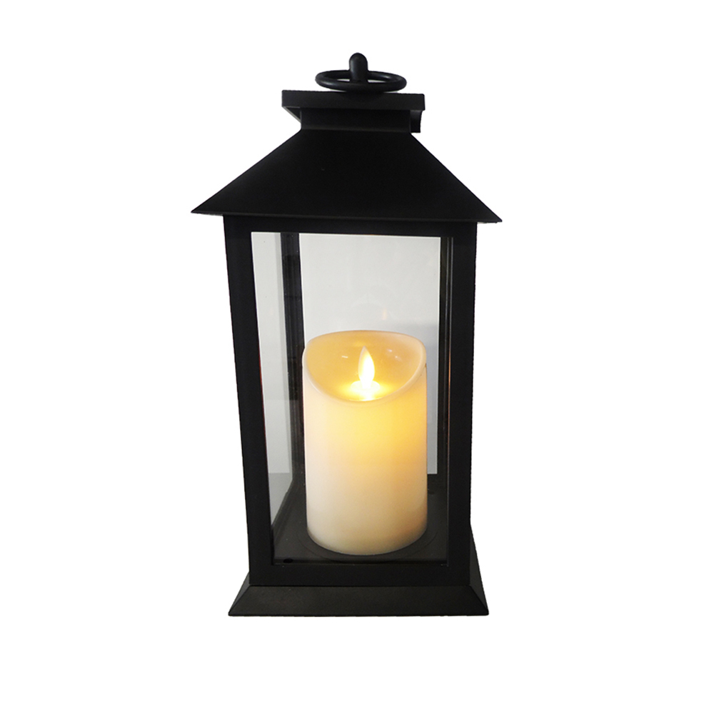 Battery Lantern with Candle LED Warmwhite 14 x 14 x 27cm 9531-DP black