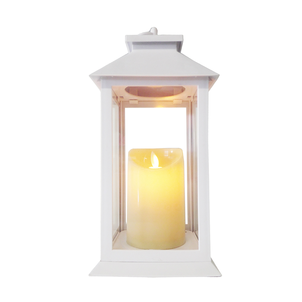 Battery Lantern with Candle LED Warmwhite 14 x 14 x 27cm 9531-DP white